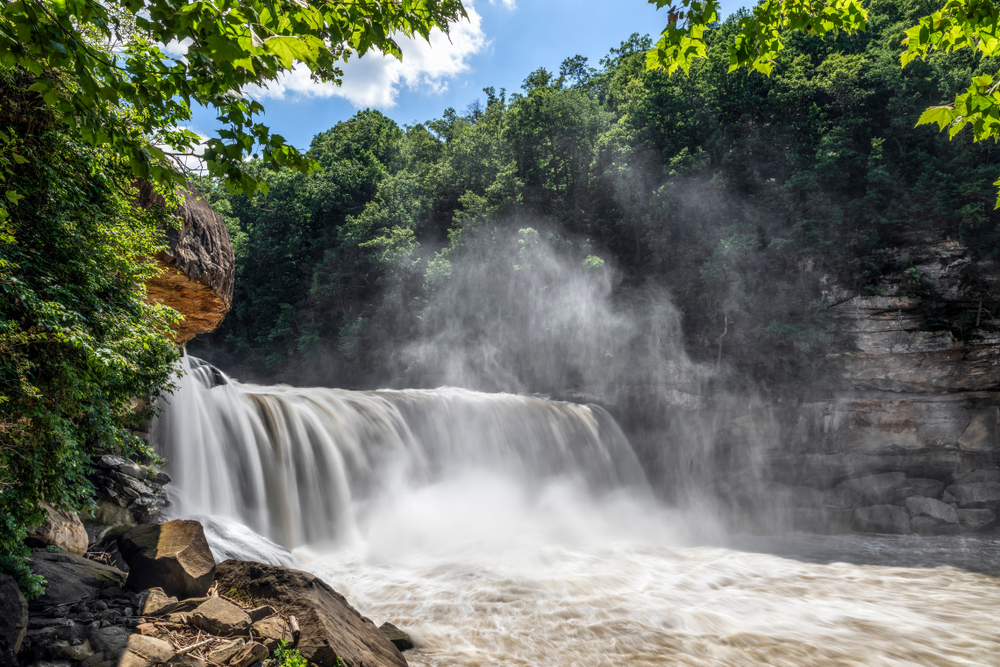"""Mighty Cumberland Falls, on the Cumberland River in Kentucky, is sometimes called """"The Niagara of the South."""""""