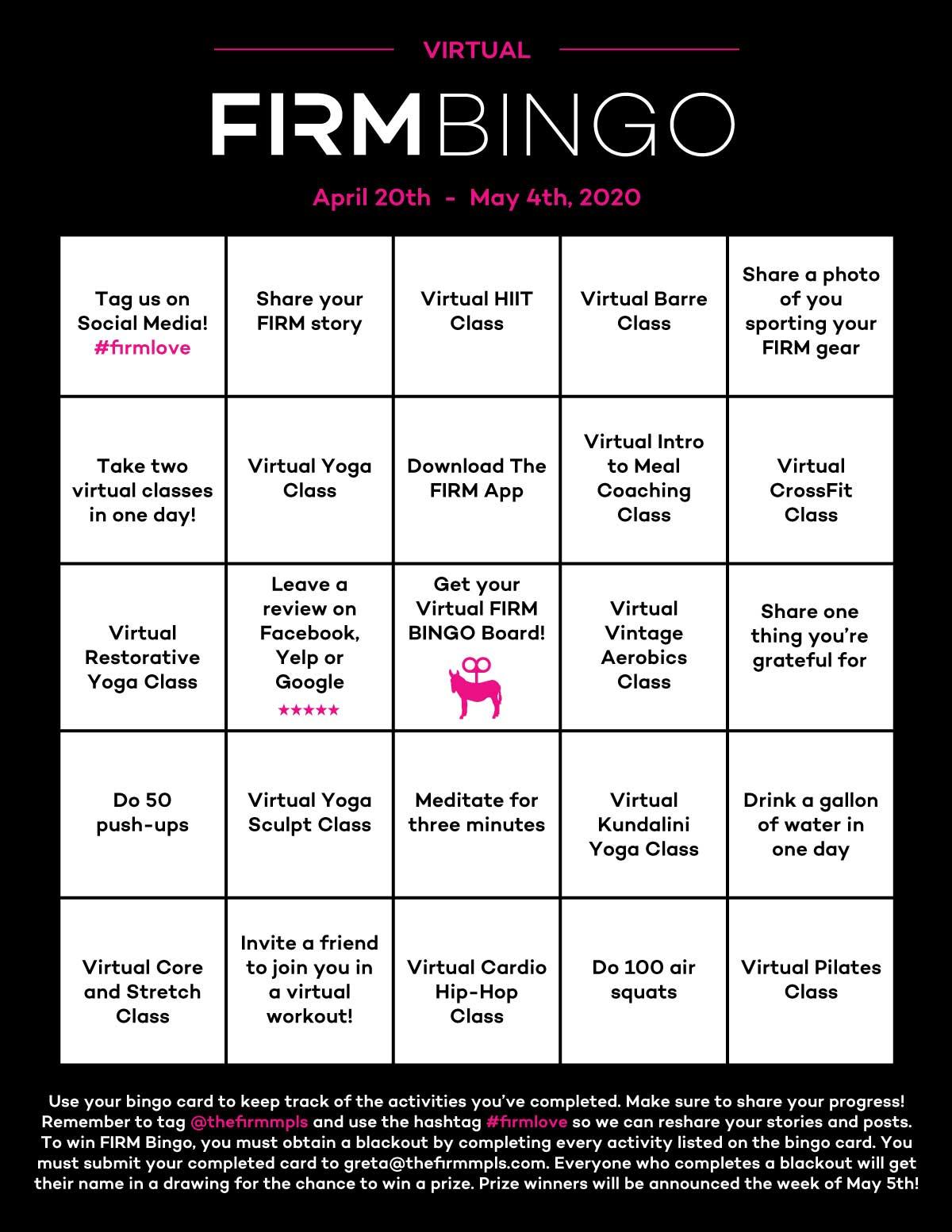 The FIRM Virtual Bingo Board