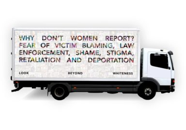Women on the Move's mobile billboard and resource center.