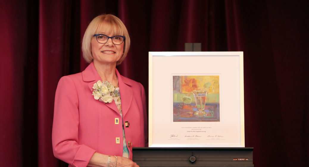CAL Executive Director Marsha Dobrzynski accepts 2018 Governor's Awards for the Arts in Ohio for Arts Education.