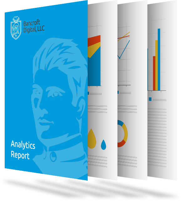 Simulated Bancroft Digital Analytics Reports on paper stacked together