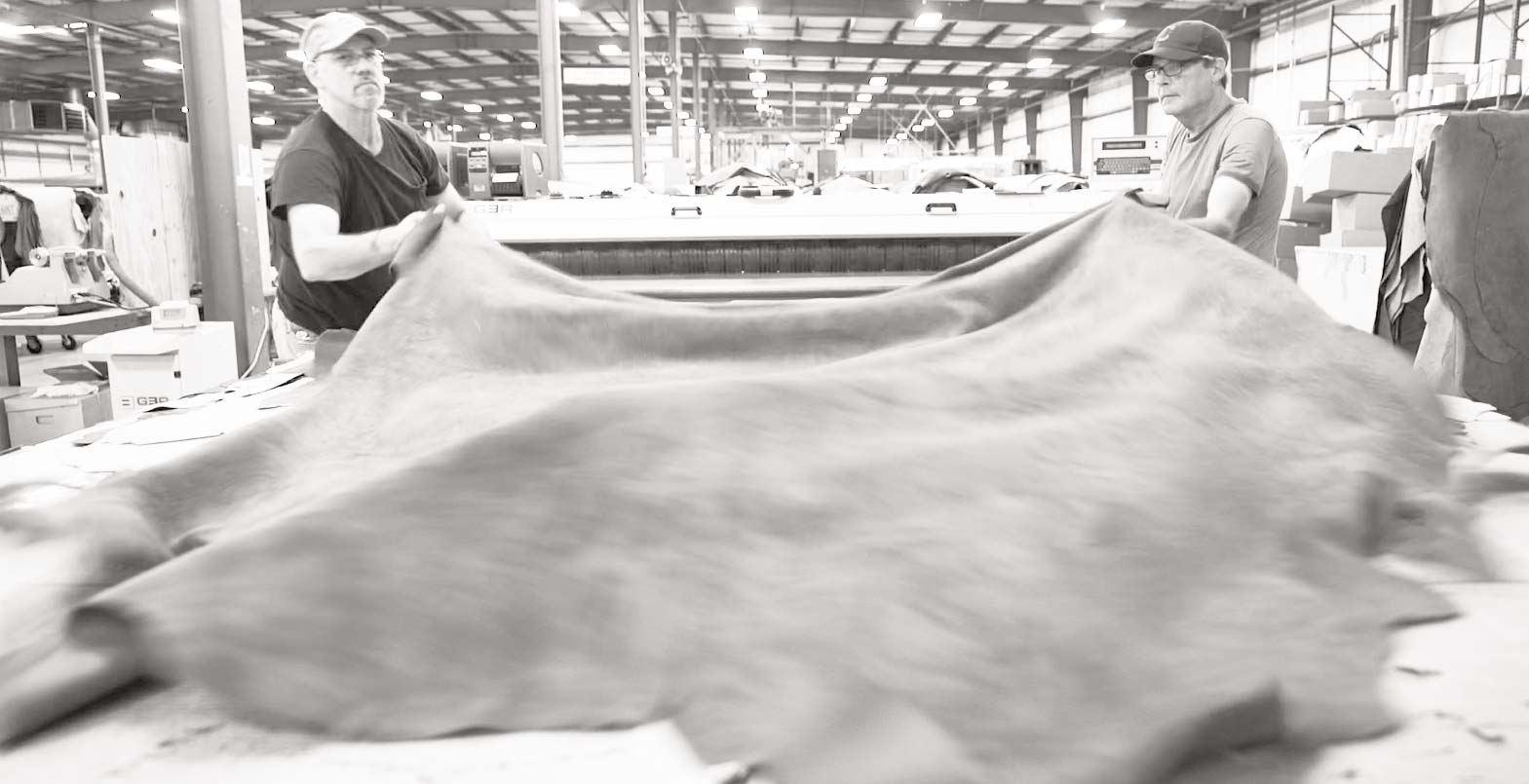 sheet of leather being produced