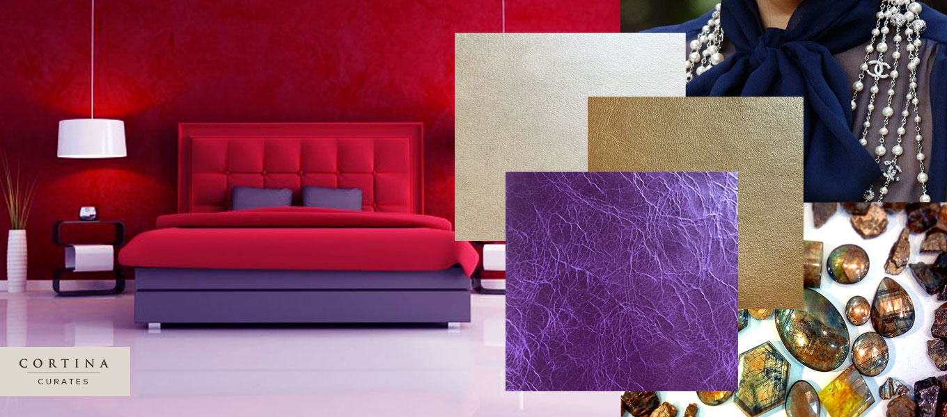 composite image of brightly colored bedroom and jewels and jewelry