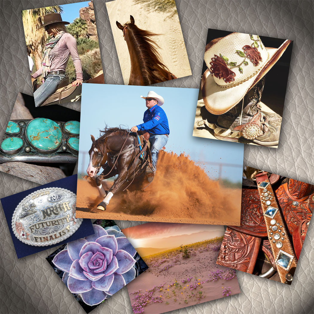 photo mosaic of western styled imagery - horses, belt buckle, cowboy hats