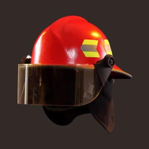 "Fire-Dex 911 Deluxe Modern Helmet, Red, with 4"" Face Shield"