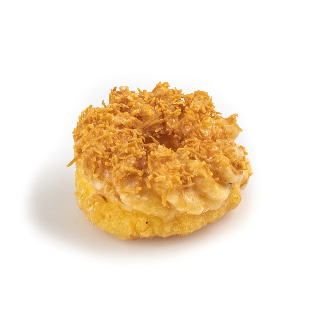 Glazed cruller donut topped with toasted coconut