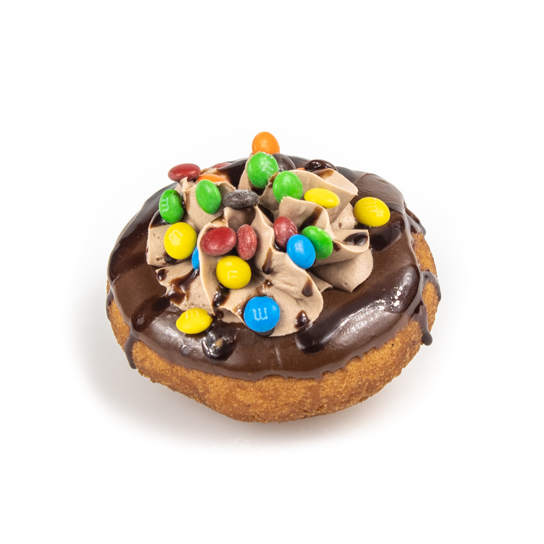 Cake Donut with M&M's and Chocolate Cream