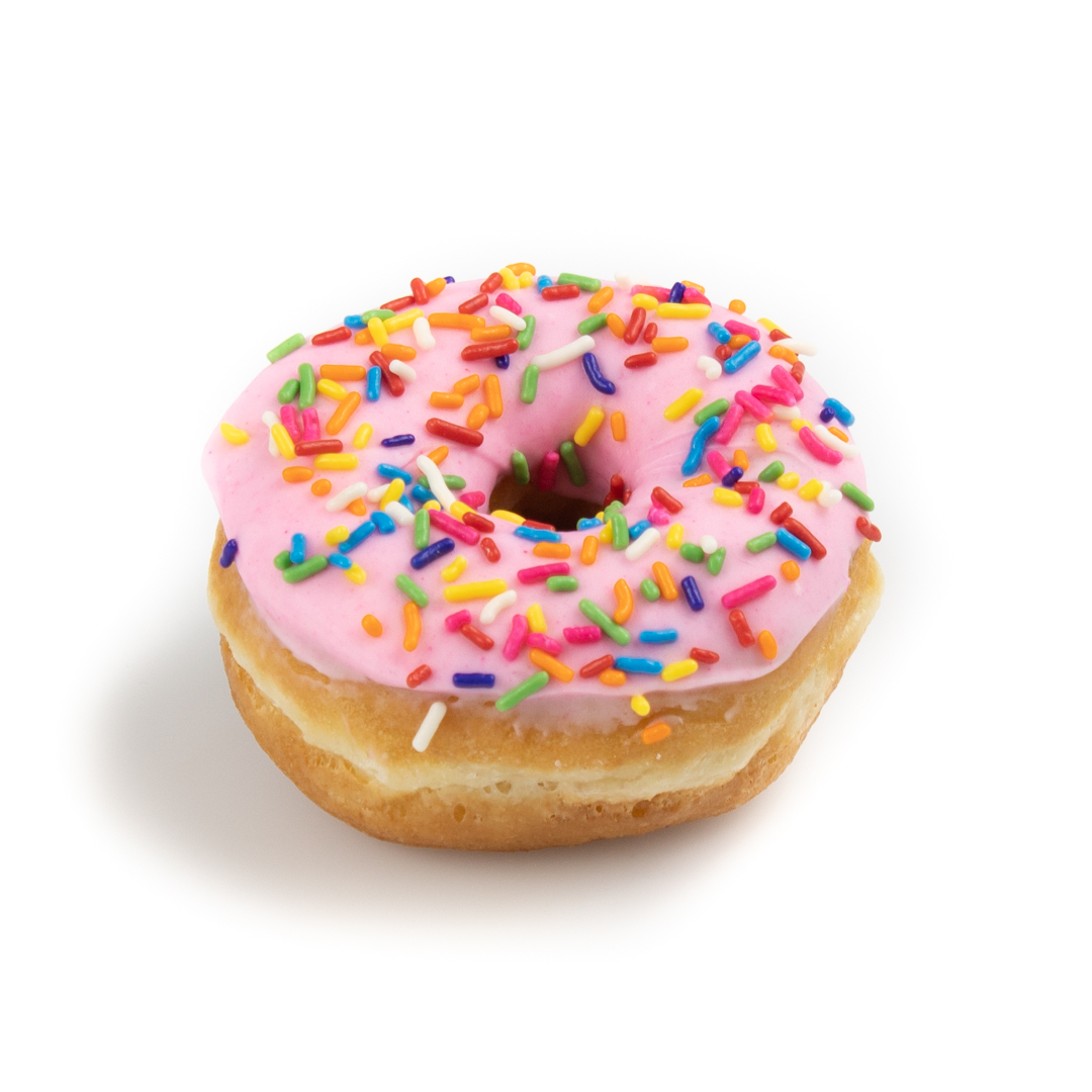 Raised donut with pink icing and rainbow sprinkles