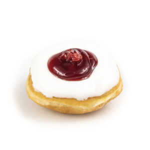 Raised donut with cherry topping and white icing