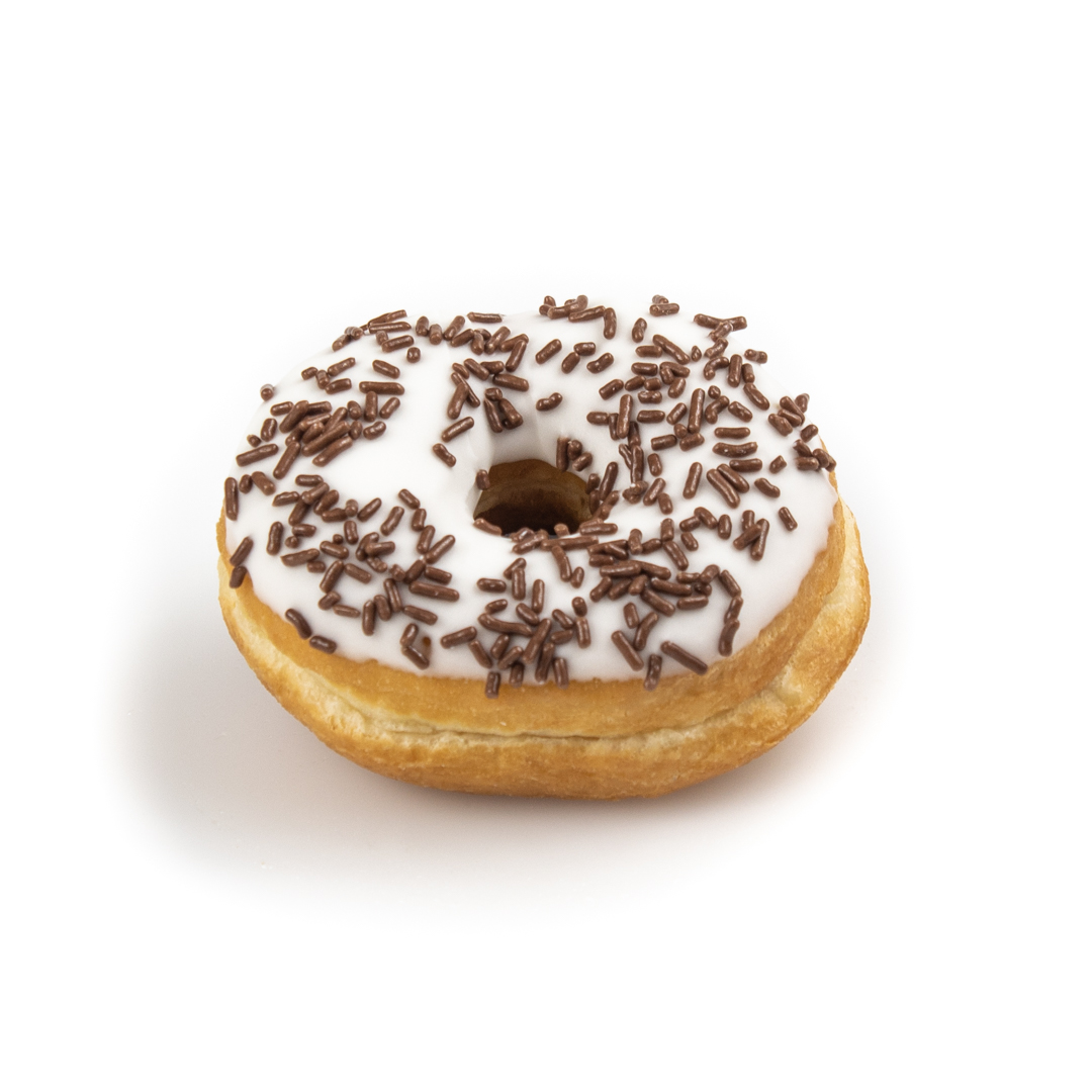 Iced Donut with Chocolate Sprinkles