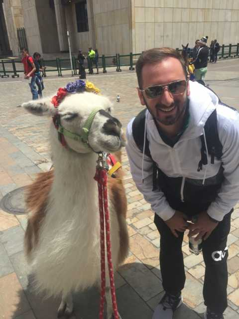 Anthony in colombia standing next to an alpaca