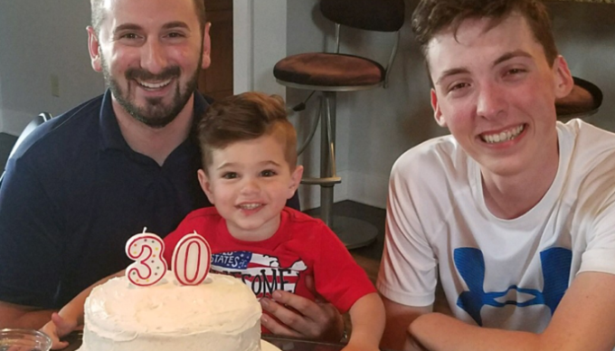 Anthony with cousins on his birthday