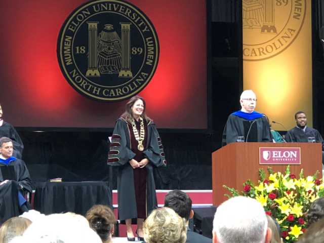 Elon's new president Dr. Book addressing crowd