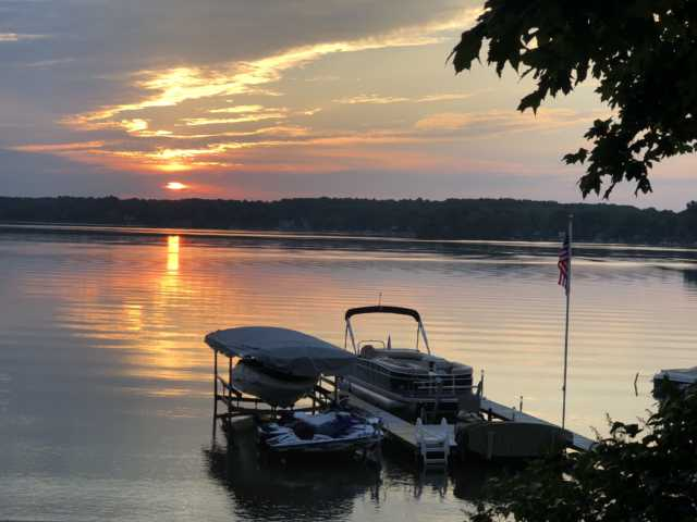 Sunset at Angie's Lake house