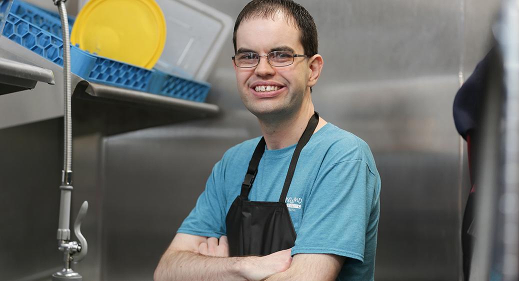 Matt Evans working at Honeymoon Grill.