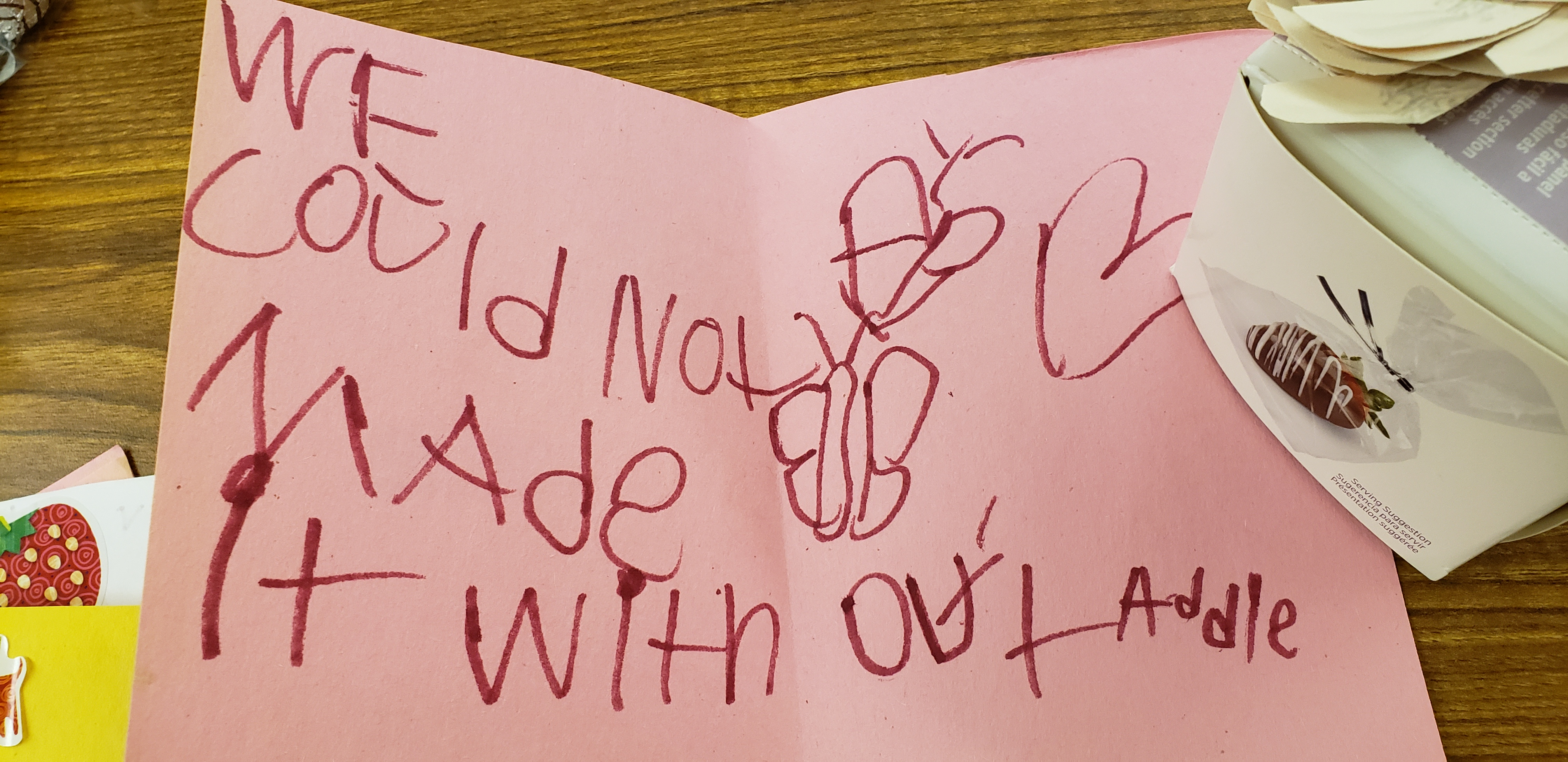 Thank you note written by a child to DSPs