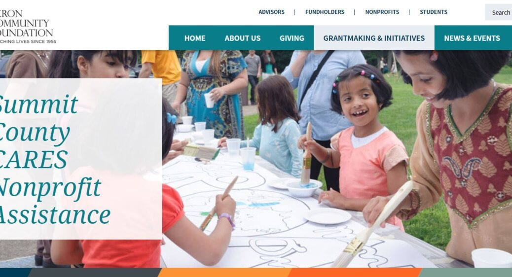 Webpage image from Akron Community Foundation of children and women painting