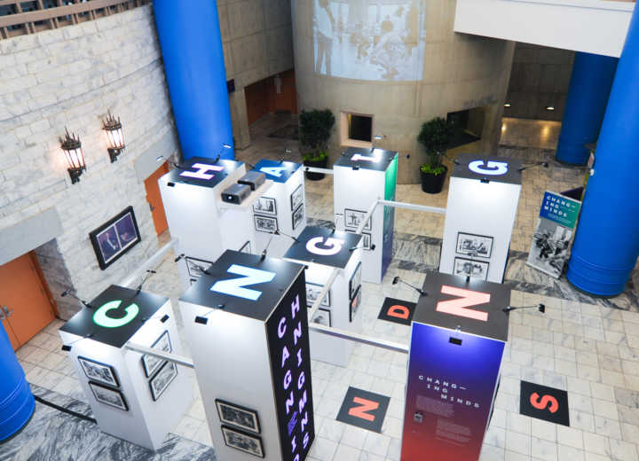 Rogers worked with design firm Nesnadny + Schwartz to bring the Changing Minds exhibit to the public with a display that was designed to travel throughout the Cleveland Public Library system.