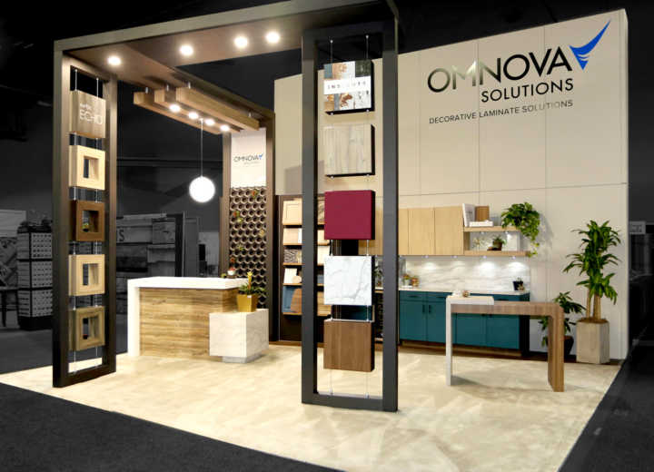 Omnova exhibited in a split island booth at IWF.