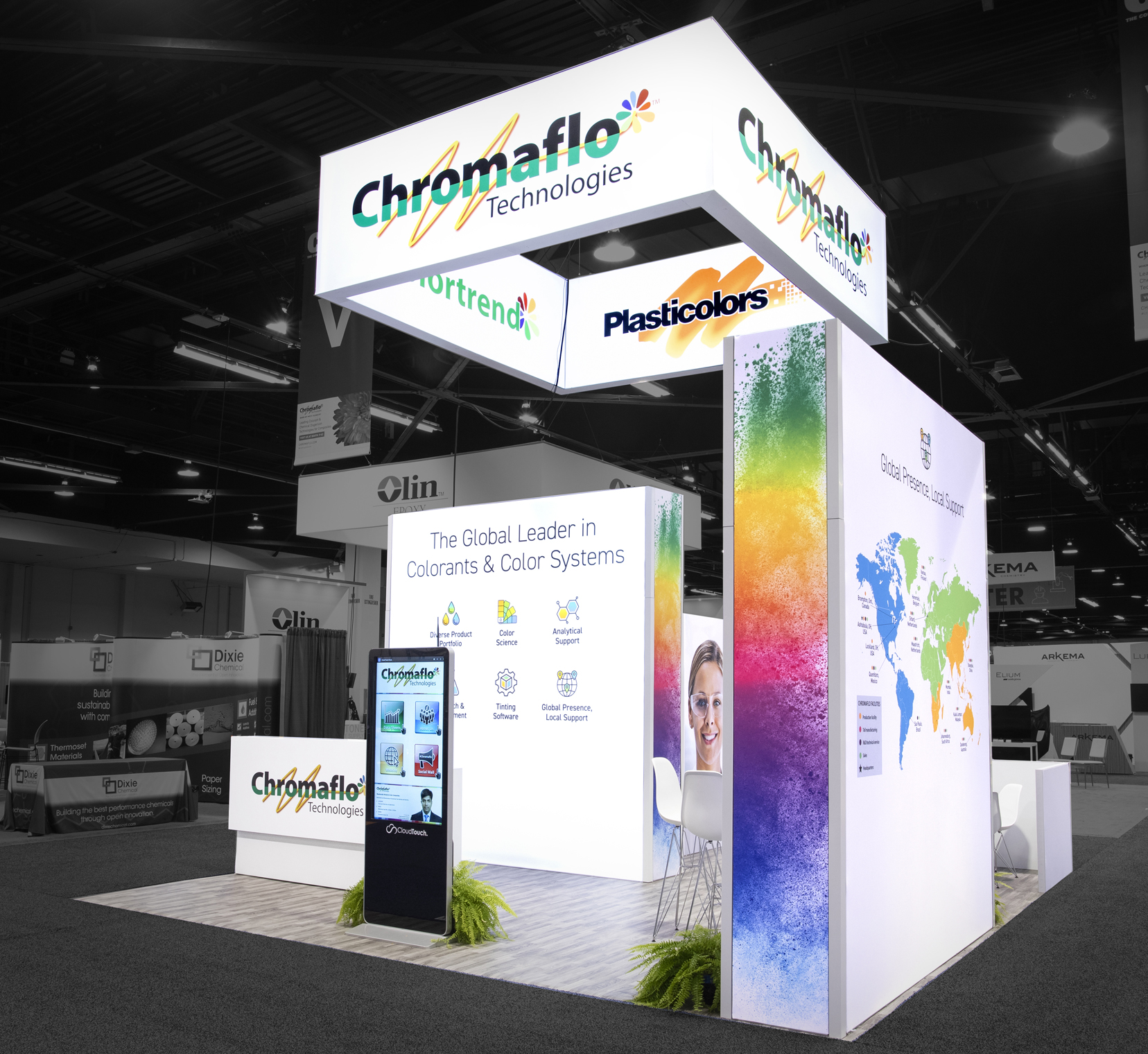 Chromaflo Technologies showed off thier bold, bright colors in their 20x20 island booth.