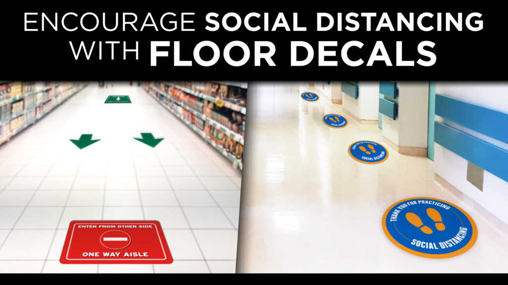 Rogers offers vinyl floor decals encourage social distancing, traffic flow, and communicate important messages.