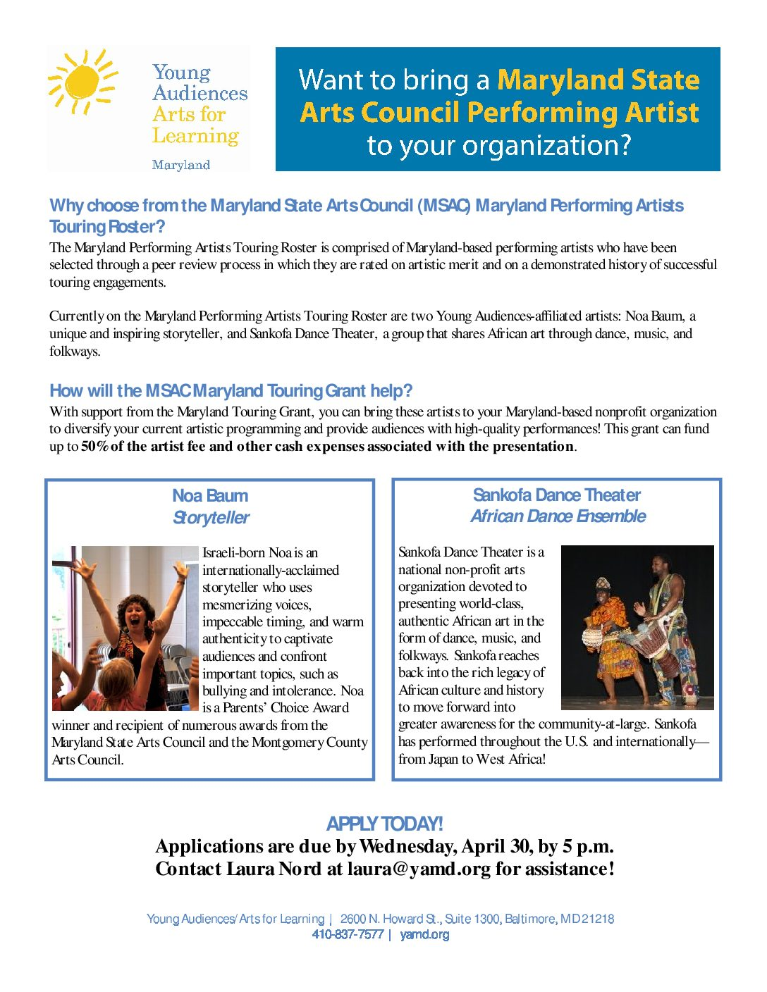 one-page flier - Young Audiences Arts For Learning
