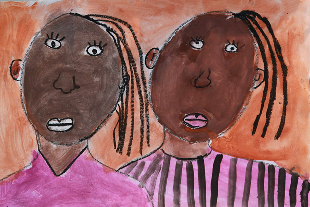Portrait of two young girls painted by a student in Summer Arts & Learning Academy