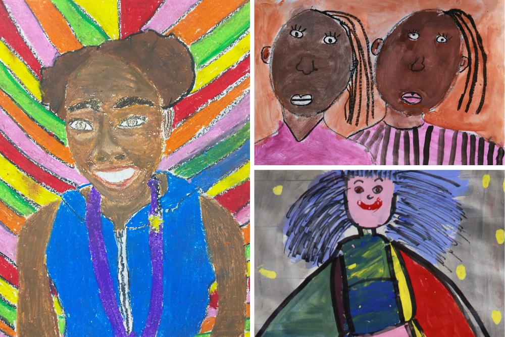 Portraits created by elementary school students in Summer Arts & Learning Academy