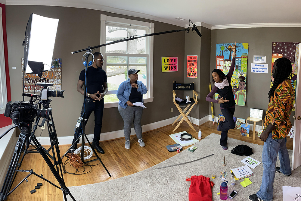Artists and crew behind the scenes filming the new kids educational TV show Arts & Learning Kids