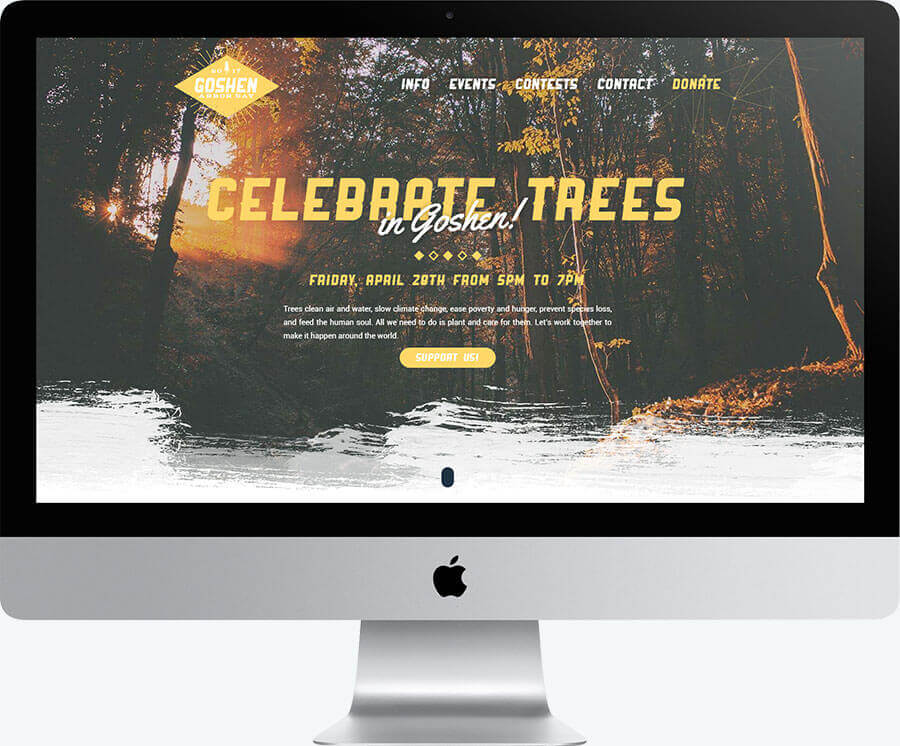 A desktop computer showing the layout of the homepage for the Goshen Arbor Day website