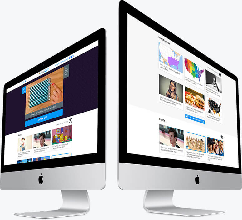 Two desktop computers showing the layout of the Magiquiz homepage