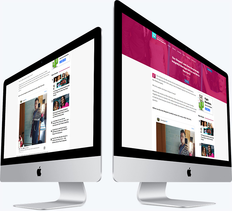 Two desktop computers showing the single article layout for the 22 Words website