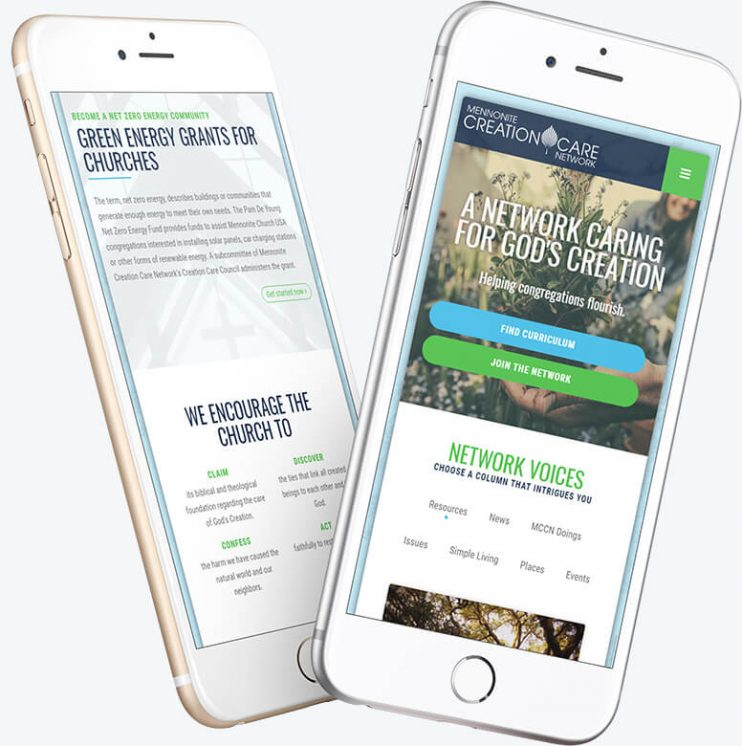 Two mobile phones demonstrating the homepage layout for the Mennonite Creation Care Network website