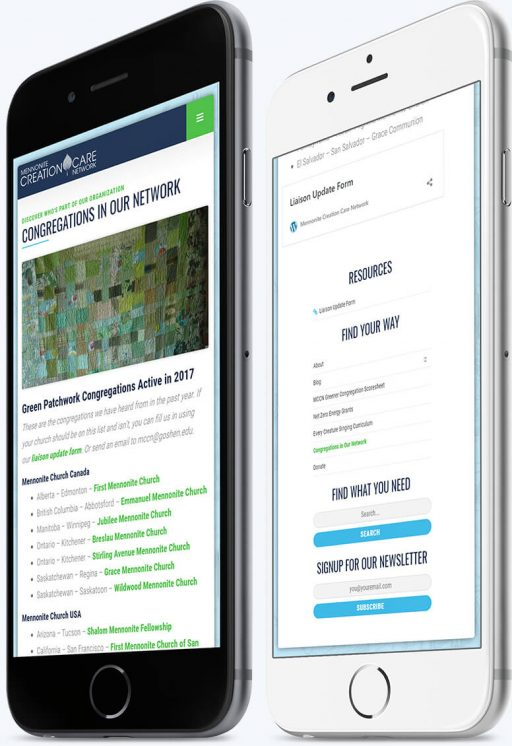 Two phones showing the advanced navigation and page layouts custom-built for the Mennonite Creation Care Network website