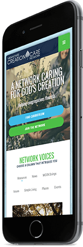 A mobile phone displaying the homepage of Mennonite Creation Care Network