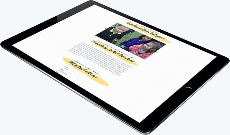 A tablet demonstrating responsive layout for Trees for Goshen
