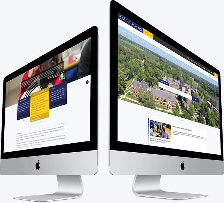 Two desktop computers showing layouts of the dynamic, custom design of the homepage for Ancilla College