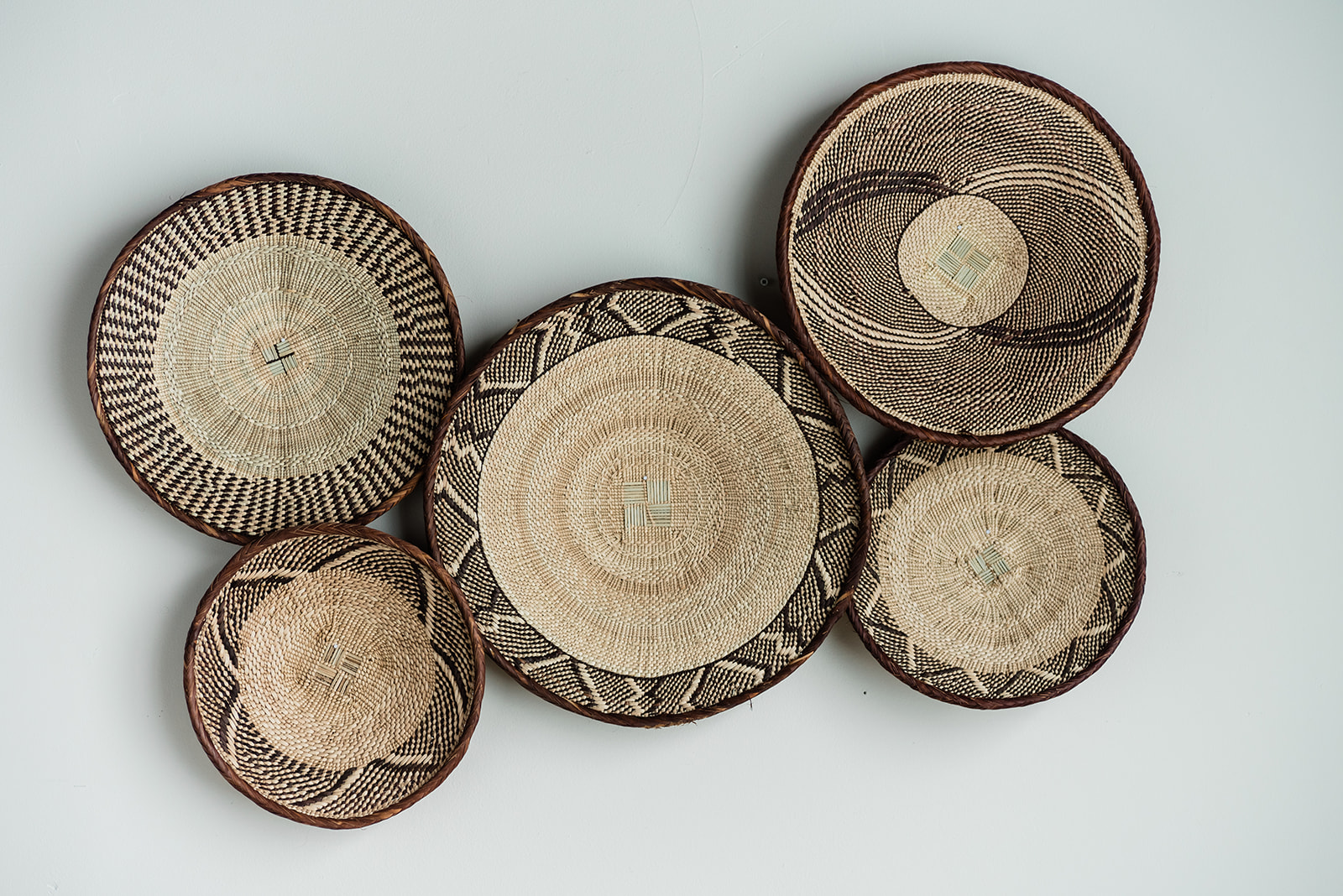 Handmade Woven Wall Baskets - Set 6 - Staged for Upsell