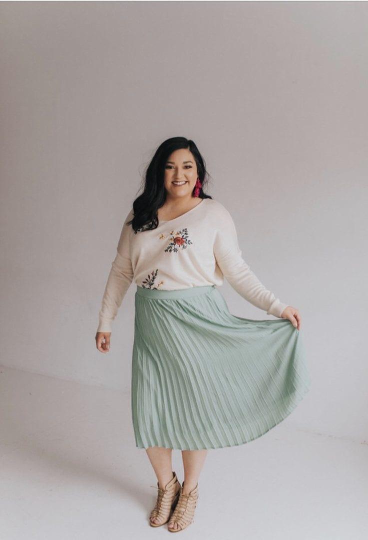 86434e94fa7c Ashley LeMieux Mint Midi Skirt. Sale! prev