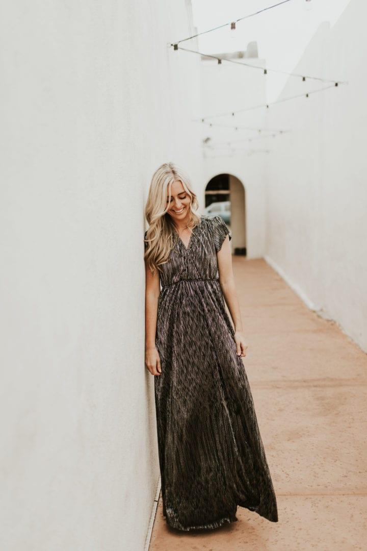 Blacksilver Metallic Maxi Dress Ashley Lemieux