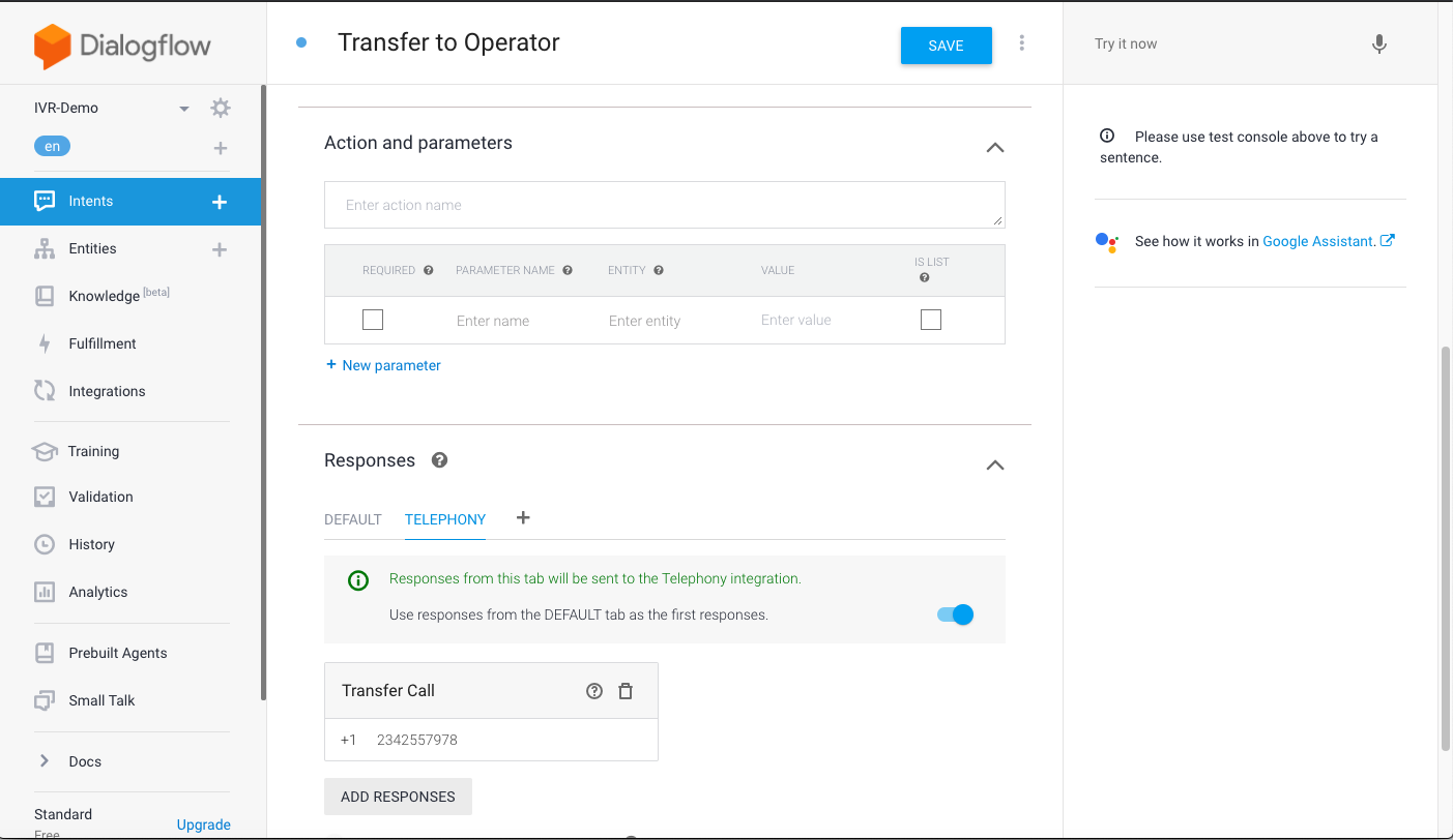 Dialogflow Transfer to Operator
