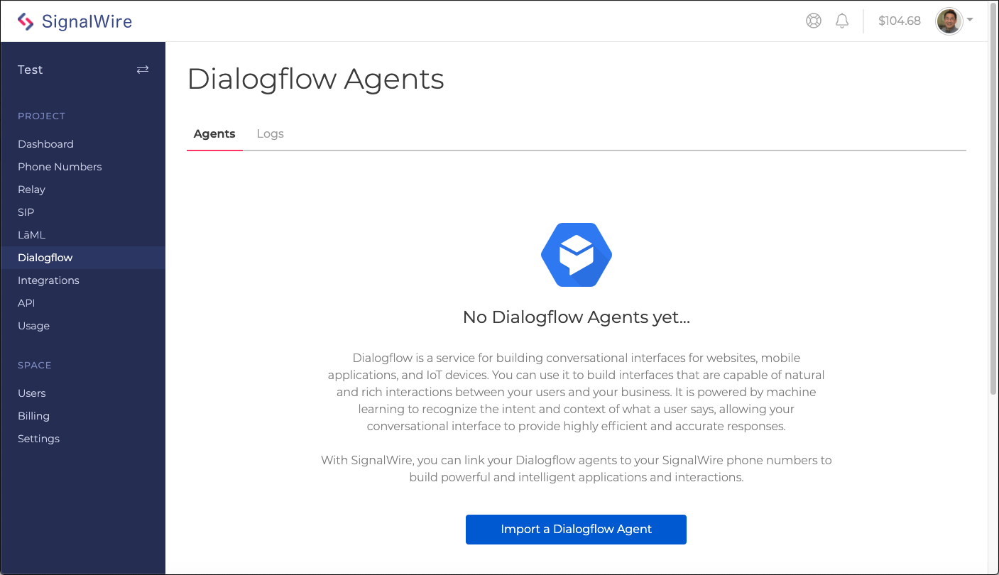 Import Dialogflow Agent