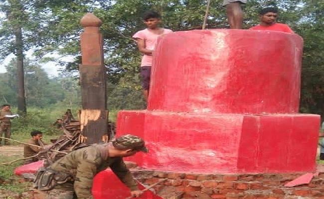 छत्तीसगढ़: डीआरजी के जवानों ने ध्वस्त किया नक्सलियों का स्मारक