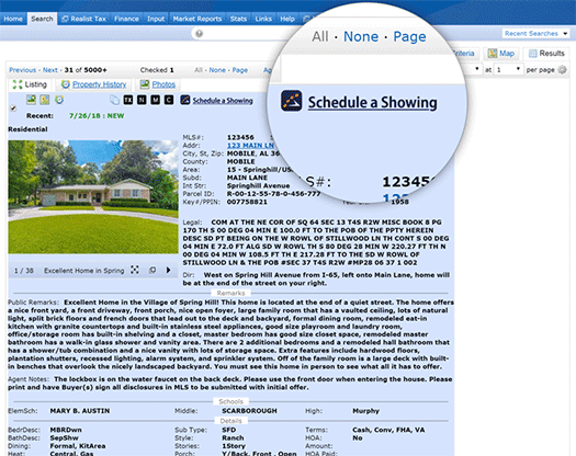 Schedule a Showing button screenshot on browser