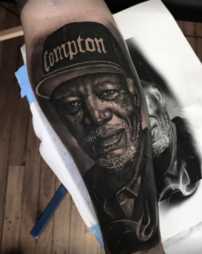 Morgan Freeman portrait tattoo by @dylanwebertattoos