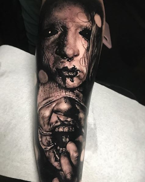 Black and grey horror sleeve by @damon_tattoos
