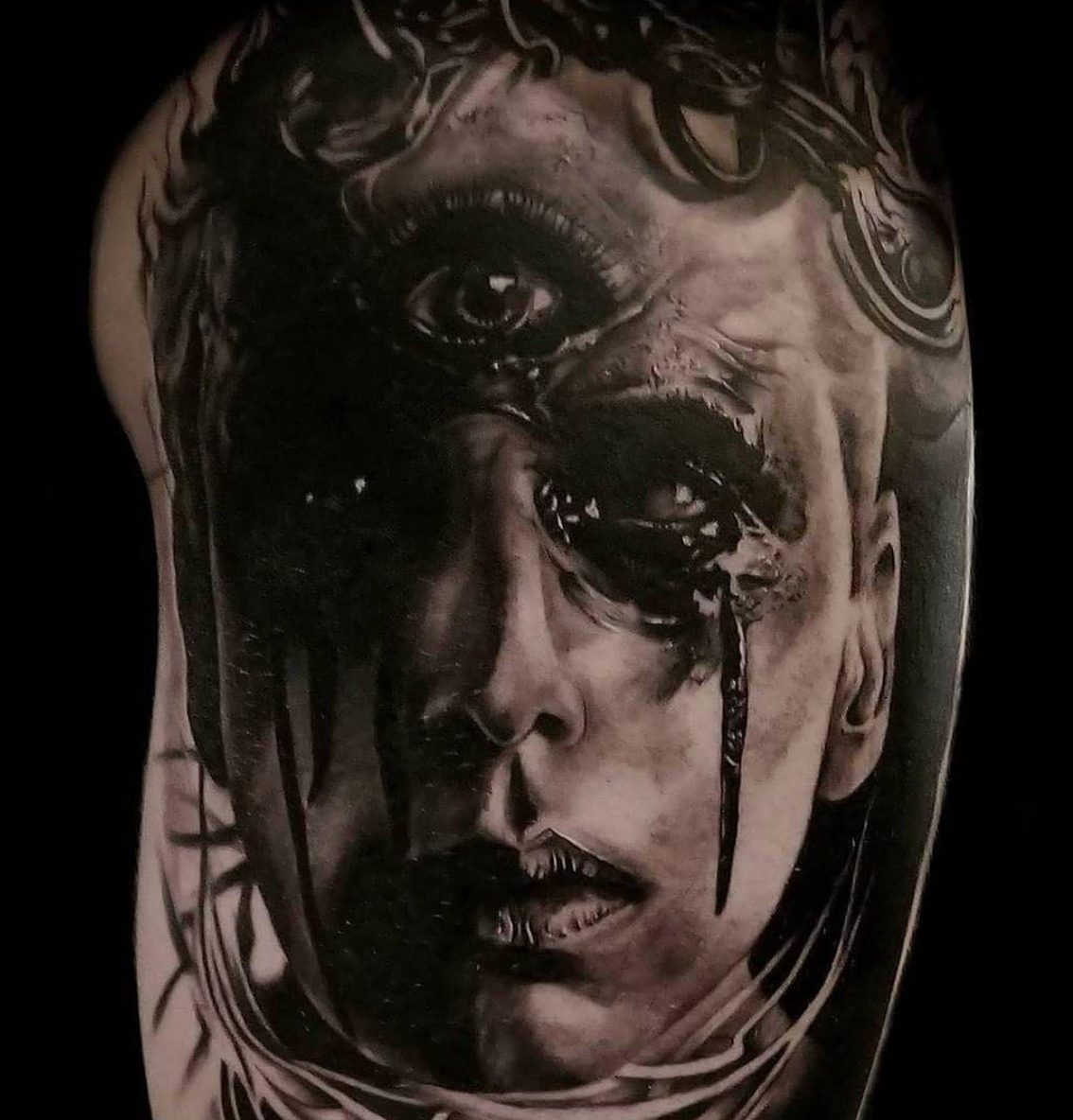 Black and grey horror sleeve by @calebmorgantattoo