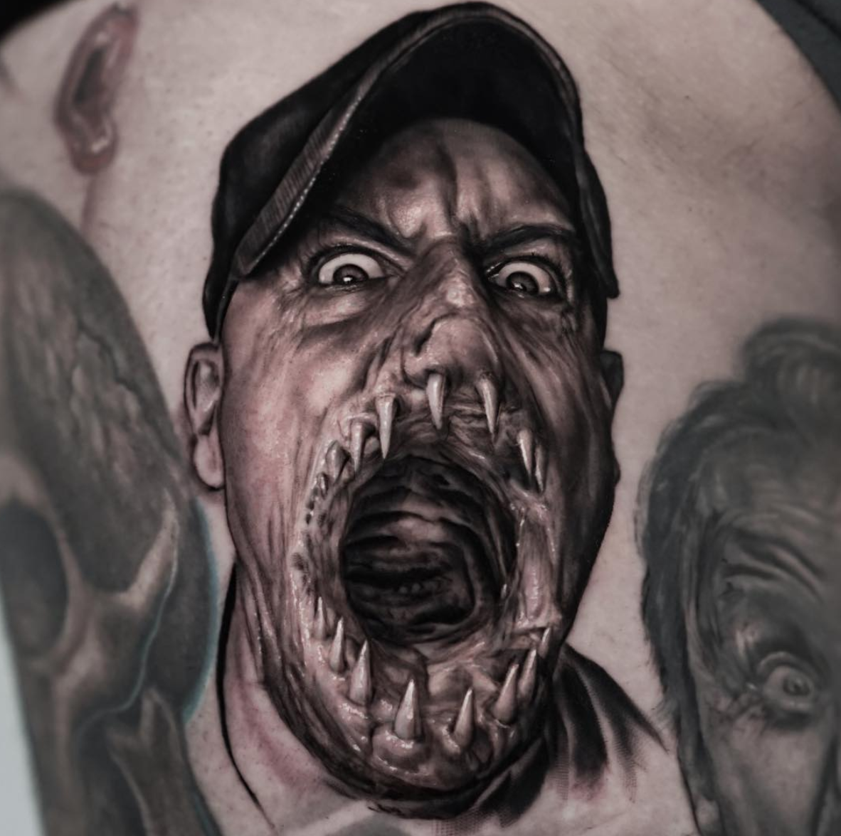 Self-portrait tattoo with a disturbing twist - by @ralfnonnweilerta2