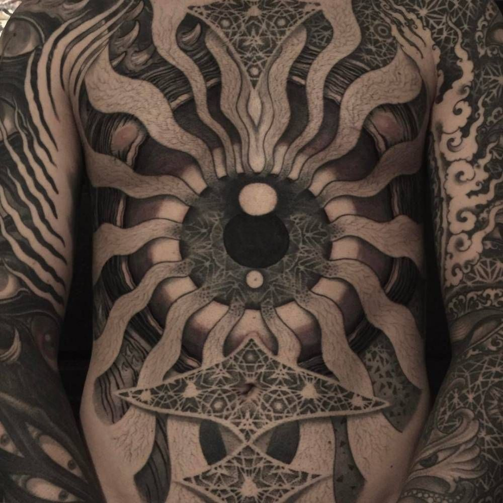 Full torso tattoo by Filip Leu