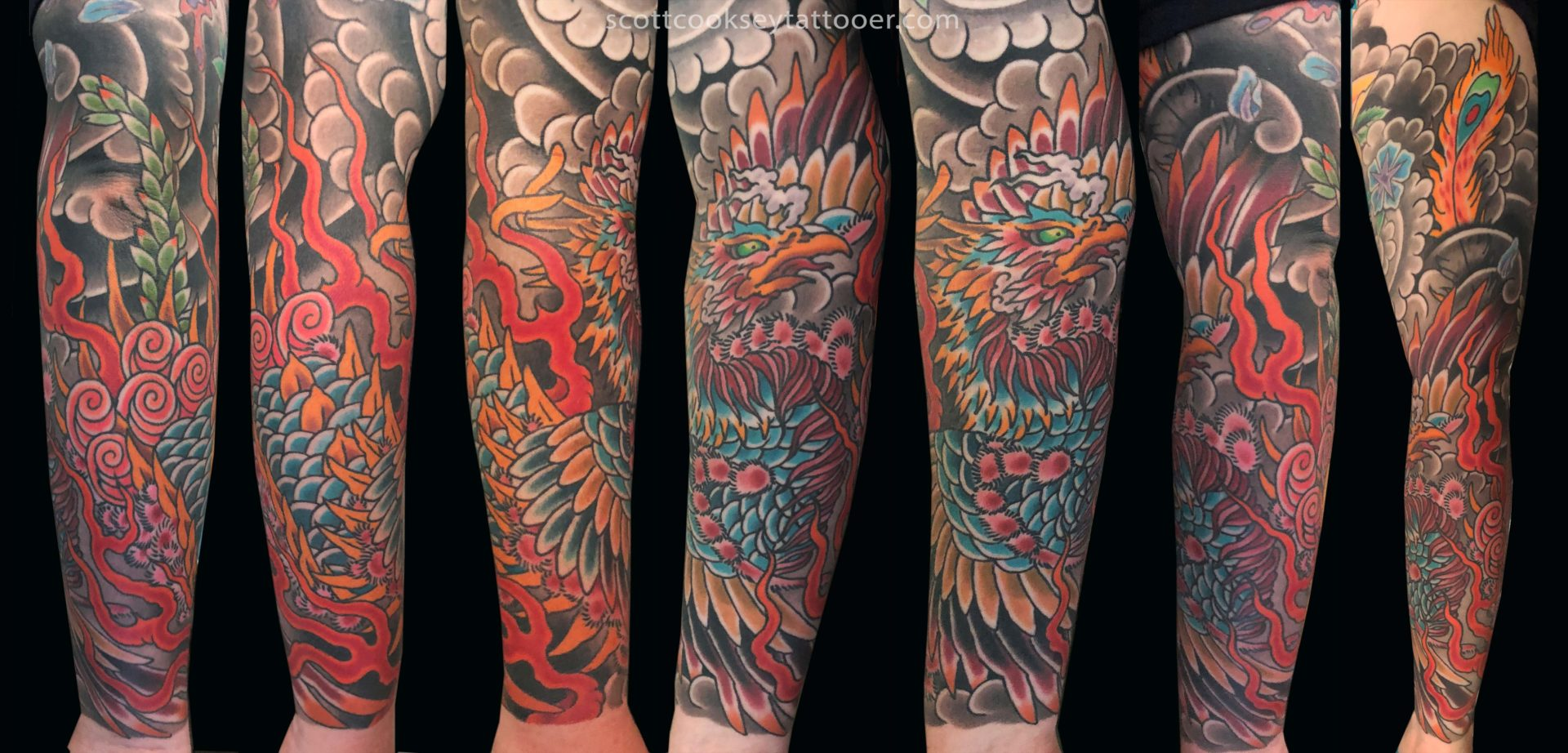 Japanese Phoenix Sleeve Tattoo